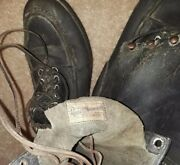 Vtg Menand039s Russell Moccasin Co Brown Boots With Hobnails And Heel Plates Sz. 12