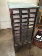 Vintage Mid-century Modern Polished Metal 30-drawer Library-style Industrial Cab