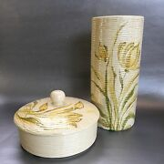 Vase & Covered Bowl Mid Century Modern Italy Pottery Signed Vintage