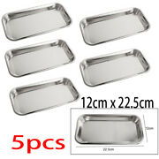 5pc Stainless Steel Medical Surgical Tray Dental Dish Lab Instrument Tool New