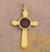 Solid 14kt Gold Cross With Authentic Biblical Widowand039s Mite Coin 103-76 B.c.