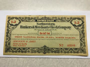 1st Nat. Bank Plaza N.d. Northwestern Bankers And Merchants Check Company 1/2 Cent