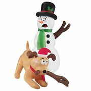 4 Ft. Dog Stealing Snowman Arm Christmas Inflatable