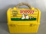Vintage Snoopy Lunch Box With Rope Handle And Snoopy And Woodstock Thermos 1965-68