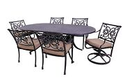 Florence Collection 4 Dining Chairs 2 Swivel Rockers And Le Terrace Oval Table