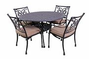 Florence Outdoor Collection 4 Dining Chairs -le Terrace 42andprime Round Table 5pc Set