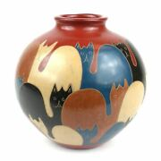 6 inch Tall Vase - Cats Hand Painted, Art Pottery, crafted Pottery Home Decor