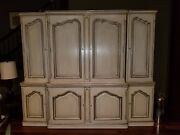 Antique Solid Wood Furniture Baker Style Credenza Cream And Silver