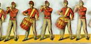 1870's-80's Die Cut Fife And Drum Corp Paper Toy Soldiers Strip 4 1/4 X 11 1/2