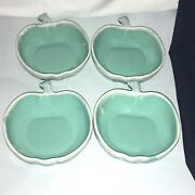 Vtg? 4 Blue Green Teal White Drip Glaze Apple Shaped Ceramic Bowls Dishes Candy