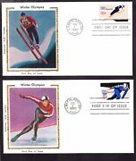 Us 1795-1798 15c Winter Olympics First Day Covers Lot W/ Colorano Silk Cachets