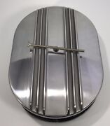 12 Oval Half Finned Air Cleaner Assembly Polished Aluminum Classic Chevy Ford