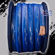 2 Gauge 50ft Blue Power Ground Ofc Wire Strand Copper Flat Marine Cable 2 Awg