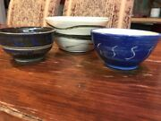 SET 3 Studio Art Pottery Stoneware Glazed Small Pot Bowl Artist Signed 7""