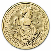 2018 Great Britain 1 Oz Gold Queenand039s Beasts The Unicorn - Sku 152536