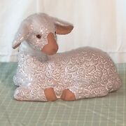 Rosenthal-Netter Ceramic Pottery Clay Lamb Light Rose Pink Made Taiwan Detailed