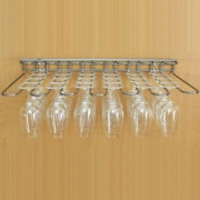 Wineware Wall And Shelf Mounted Stainless Steel Wine Glass Hanging Rack