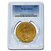 1911-d 20 Saint-gaudens Gold Double Eagle Ms-64 Pcgs - Sku 18655