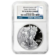 2014-w Proof Silver American Eagle Pf-70 Ngc Early Releases - Sku 79373