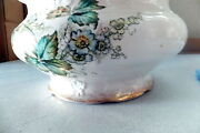 Very Nice Vintage Chamber Pot W/lid, Porcelain, Numbered, Gold Edged, 9.5 Dia,