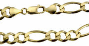 Authentic 14k Solid Yellow Gold 9.5mm Figaro Link Chain Necklace Sz 22 - 30