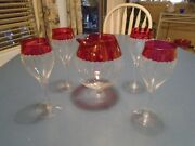 Unknown Maker Cut Glass Wine Set Red Ruby Crystal Depression