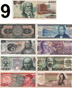 Uncirculated Mexico Set 9 Banknotes Lot 70and039s 80and039s 5 10 20 50 100 500 1000 Pesos