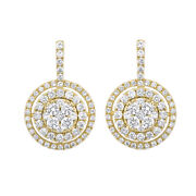1.22ct Round Simulated Diamond Solid 14k Yellow Gold Double Halo Dangle Earrings