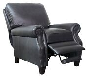 Barcalounger Briarwood Ii Genuine Shoreham Grey All Leather Recliner Chair