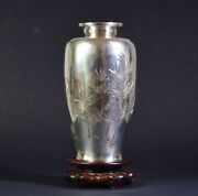 Late 19th Meiji Antique Japanese Silver Vase 251 Grams Signed Inlaid Brass Japan