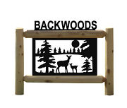 Whitetail Deer And Fawn Rustic Cedar Log Sign - Hunting Signs