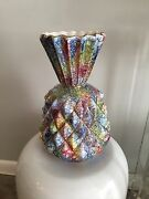 Hollywood Regency Mid century Modern Italy Ceramic Vase Multi Color Must SEE!