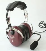 Skylite Ga Aviation Pilot Headset With Mp3 Input New Wine Red Color + Free Bag