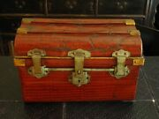 19th Century Faux Crocodile Painted Metal Trunk Luggage Collectible