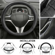 Black Synthetic Leather Car Steering Wheel Cover Stitching Sport Grip Small