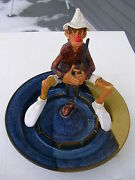 """STUDIO / HANDCRAFTED VINTAGE ART """"GOLFER ASHTRAY"""" SIGNED POTTERY, (SEE PICTURES)"""