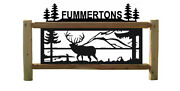 Personalized Elk Sign With Pine Trees - Log Signs - Rustic Log Decor