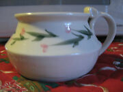 """CUP DISH BOWL,ceramic,studio pottery, 3.5"""" tall,ivory,pink flowers,leaves,signed"""