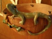 SIGNED ART POTTERY RED CLAY POT APPLIED LIZARD 2 SMALLER ONES OTHER CRITTERS 3