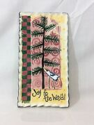 "Handmade Stoneware Pottery Art Wall Hanging Plaque Christmas ""Joy to the World"""