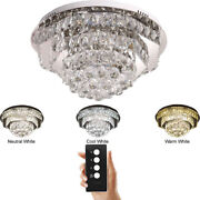 Led Polygon Remote Control Clear Crystal Ceiling Light Pendant Lamp Chandeliers