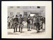 Recruiting At Westminster 1870 Boars Head Yard Victorian Engraving