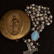 Rare Old Vtg Sterling Silver Ridged Fluted Bead Enamel Rosary And Virgin Mary Box