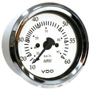 White Faced 0-60 Mph Speedometer Gauge With Chrome Bezel For Boats
