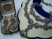 Gorgeous Solid Sterling Silver Marcasite 17 Necklace 8 Bracelet Earrings Set