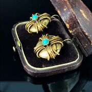 Antique Russian Turquoise Gold 14k Earrings St. Petersburg Stamped Date 1861