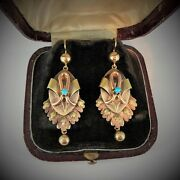 Antique Russian Turquoise Gold Long Dangle Earrings Stamped Date 1879