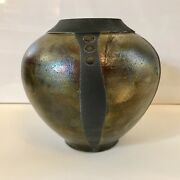 "Raku Iridescent Glaze Vase Geometric Organic 6.5"" Art Pottery Signed Vessel Pot"