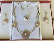 Sterling Silver Jewelry Set With Cultured Pearls Over Mother Of Pearl