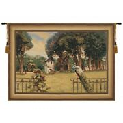 Peacock Manor With Frame Border Belgian Tapestry Wall Hanging H 64 X W 86